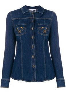 Moschino teddy bear embroidered denim shirt