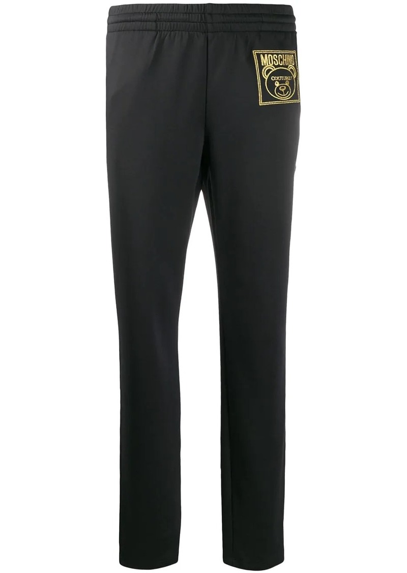Moschino Teddy Bear embroidered track pants