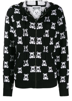 Moschino teddy bear zipped hooded jacket