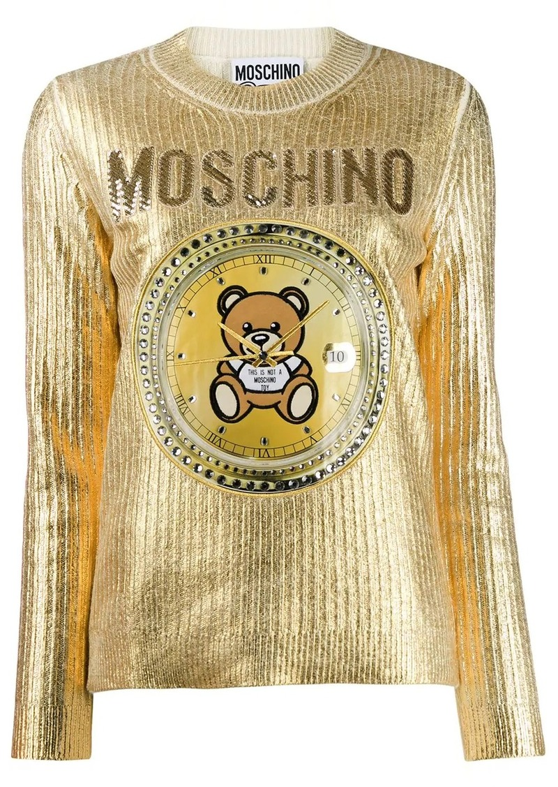 Moschino Teddy clock embroidered sweater