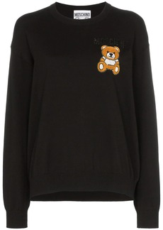 Moschino teddy embroidered long-sleeved knitted cotton T-shirt