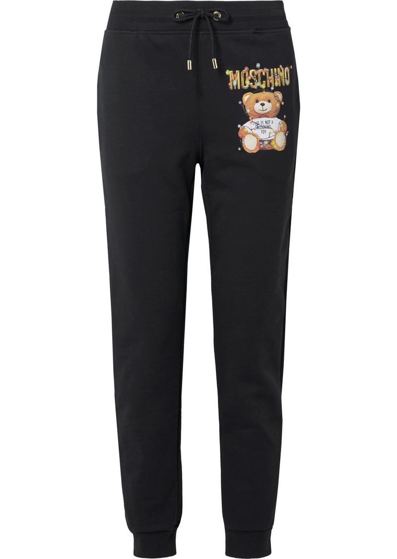 Moschino Teddy Lights Printed Cotton-fleece Track Pants