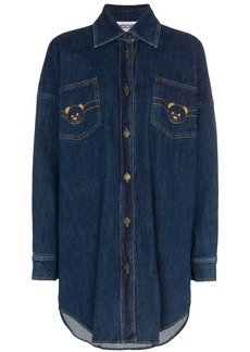 Moschino Teddy logo denim shirt-dress