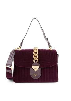 Moschino Textured Velvet & Leather Shoulder Bag