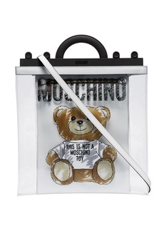 Moschino transparent teddy print tote bag