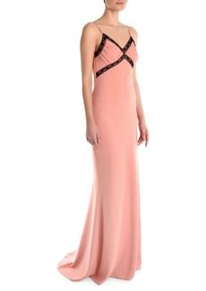 Moschino V-Neck Button-Back Gown