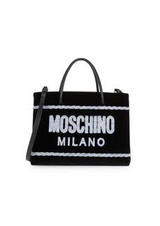 Moschino Velvet Stitched Logo Tote