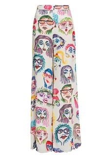 Moschino Wide-Leg Caricature Print Pants