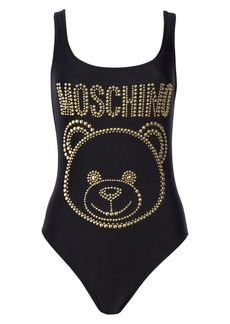 Women's Moschino Studded Teddy Logo One-Piece Swimsuit