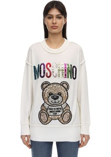 Moschino Wool Knit Sweater W/teddy Embellishment