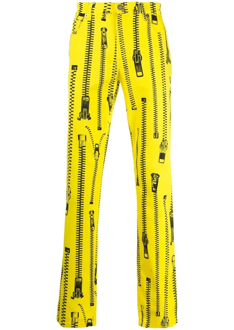 Moschino zip-print straight-leg trousers