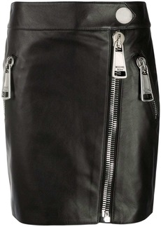 Moschino zipped leather mini skirt