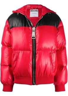 Moschino zipped logo-print puffer jacket