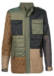 Mostly Heard Rarely Seen colour block multi-pattern coat