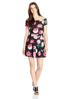 MOTEL Women's Catalina Vintage-Inspired Floral Off-the-Shoulder Skater Dress