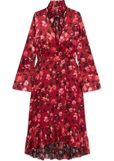 Mother Denim Adelaide Ruffled Floral-print Velvet-trimmed Silk-charmeuse Dress