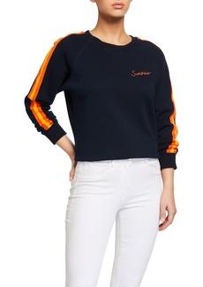 Mother Denim Crewneck Raglan Sweatshirt w/ Sunshine Topstitching