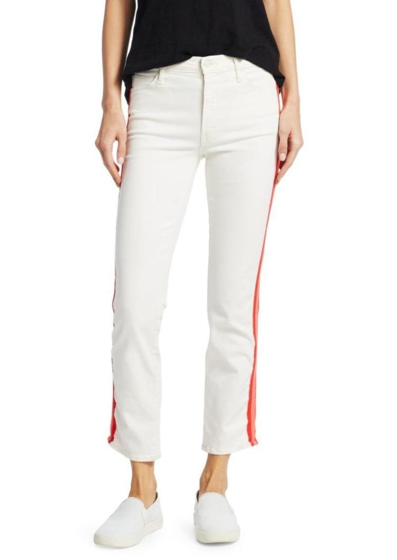 Mother Denim Dazzler Crop Racing Stripe Jeans