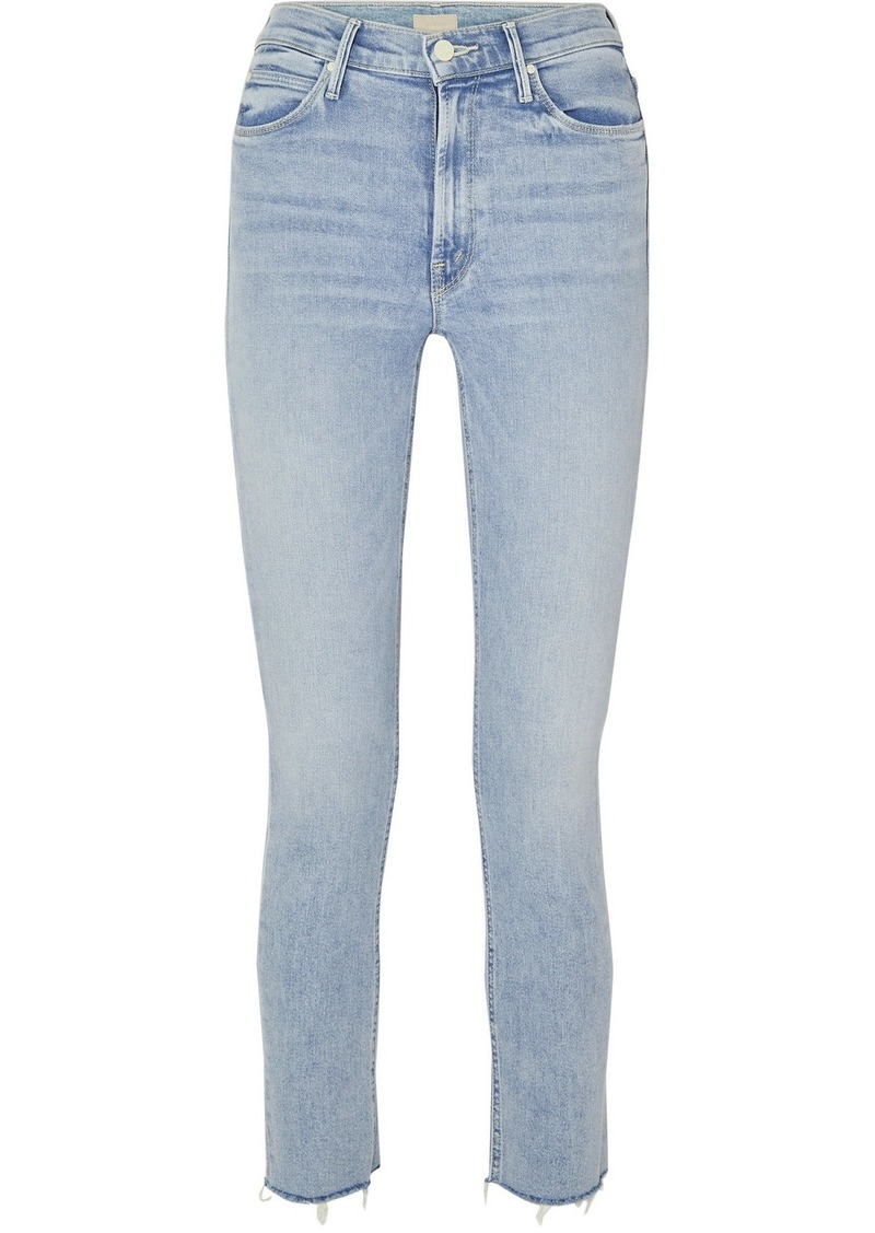Mother Denim The Dazzler Cropped Distressed High-rise Skinny-leg Jeans