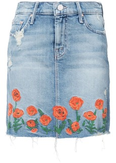 Mother Denim embroidered denim skirt