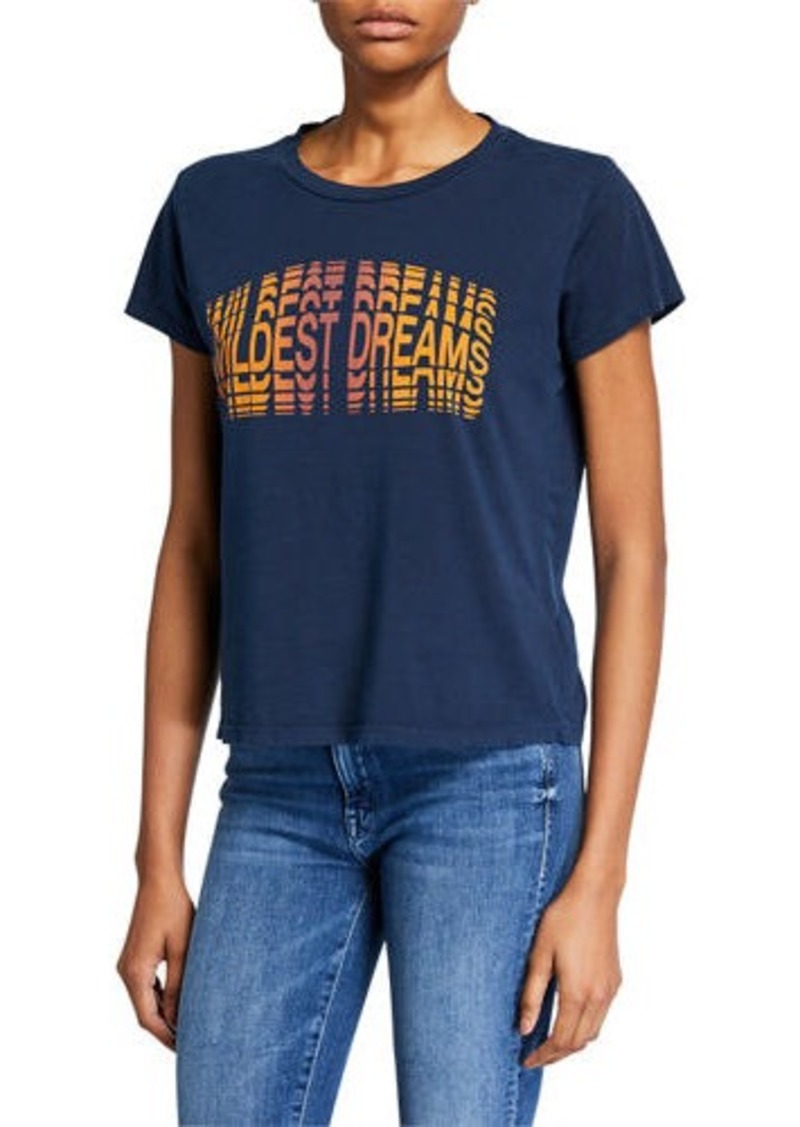 Mother Denim Goodie Goodie Short-Sleeve Boxy Cotton Tee w/ Embroidery