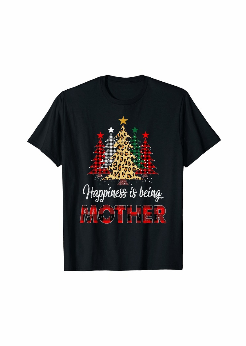 Mother Denim Happiness Is Being Mother Christmas Tree T-Shirt