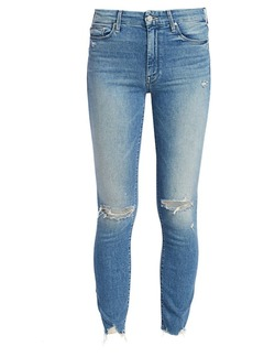 Mother Denim High-Rise Looker Ankle Fray Skinny Distressed Jeans