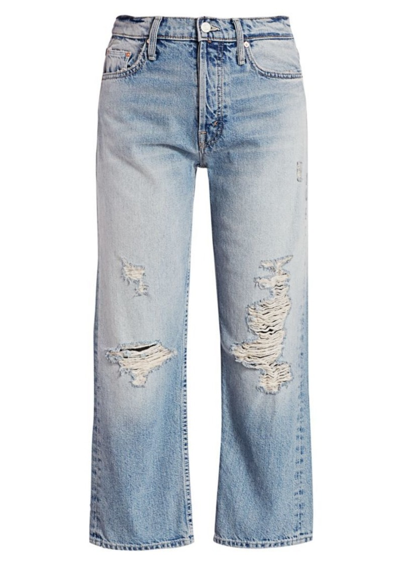 Mother Denim Huffy Distressed High-Rise Flood Jeans