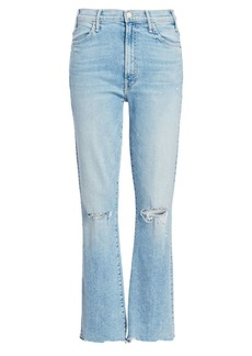 Mother Denim Hustler High-Rise Ankle Chew Hem Jeans