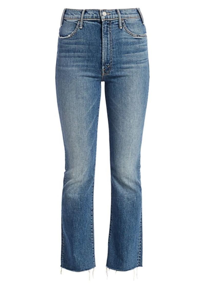 Mother Denim Hustler High-Rise Ankle Fray Cropped Jeans
