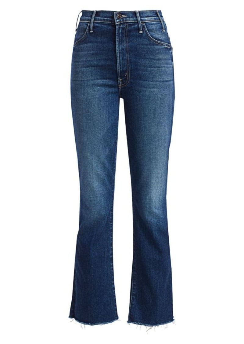 Mother Denim Hustler High-Rise Ankle Frayed Cropped Jeans