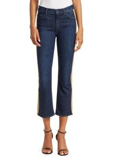 Mother Denim Insider High-Rise Side Stripe Cropped Flare Jeans