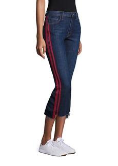 Mother Denim Insider High-Rise Side Stripe Raw Hem Cropped Jeans