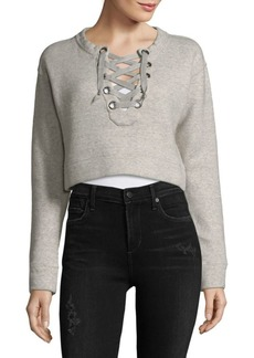 Mother Denim Lace-Up Cropped Sweatshirt