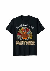 Mother Denim Leopard Thankful Blessed Mother Turkey Thanksgiving Gift T-Shirt