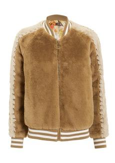 Mother Denim Letterman Faux Fur Jacket