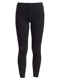 Mother Denim Looker Ankle Fray Leopard-Back Skinny Jeans