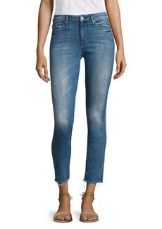 Mother Denim Looker Frayed Ankle Distressed Skinny Jeans