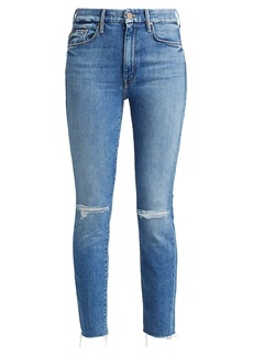 Mother Denim Looker High-Rise Distressed Skinny Jeans