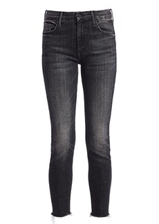 Mother Denim Looker High-Rise Fray Ankle Skinny Jeans