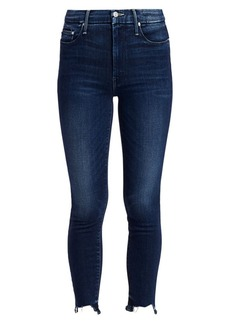 Mother Denim Looker High-Rise Skinny Fray Ankle Jeans