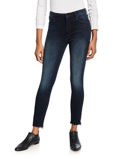 Mother Denim Looker High-Waist Frayed Ankle Skinny Jeans