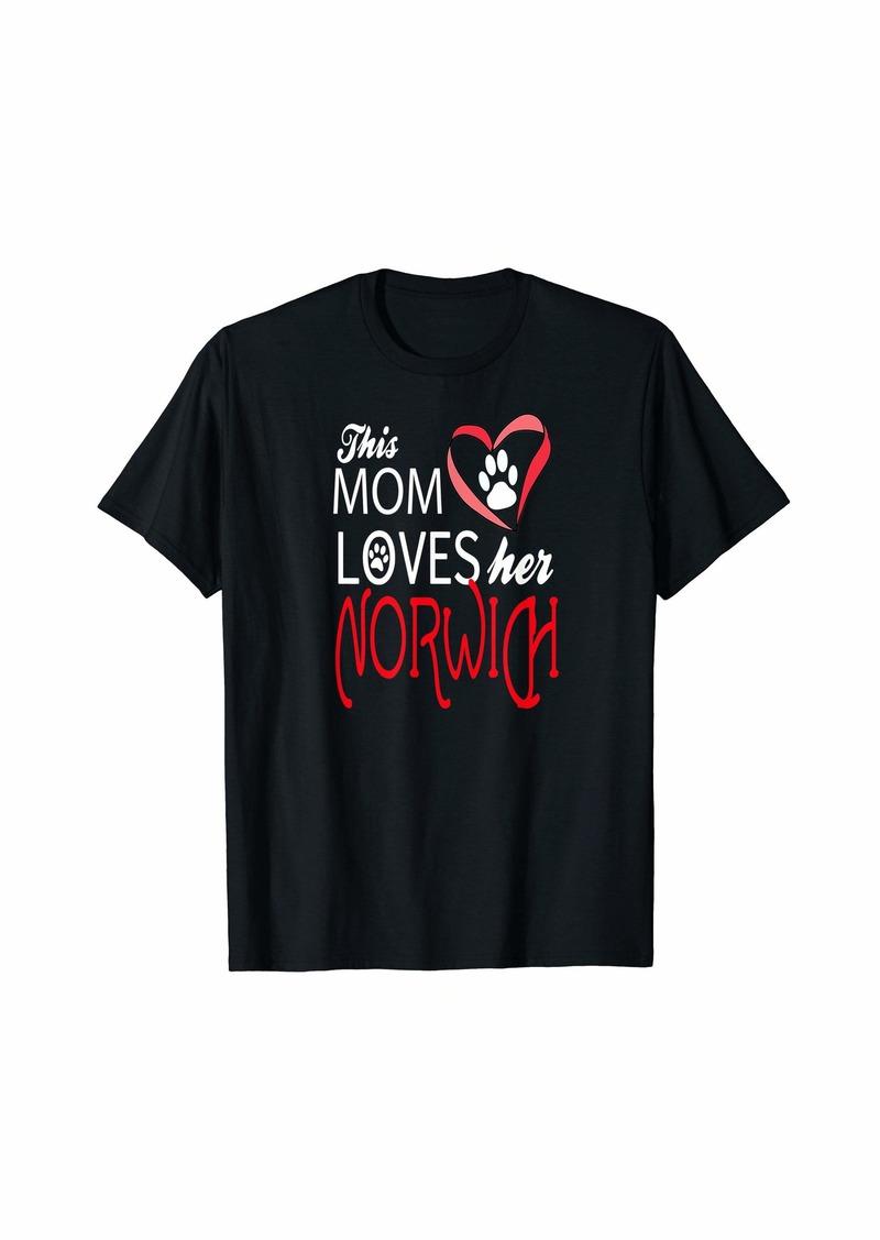 Mother Denim Mom Loves Her NORWICH Terrier Dog Lover T-Shirt