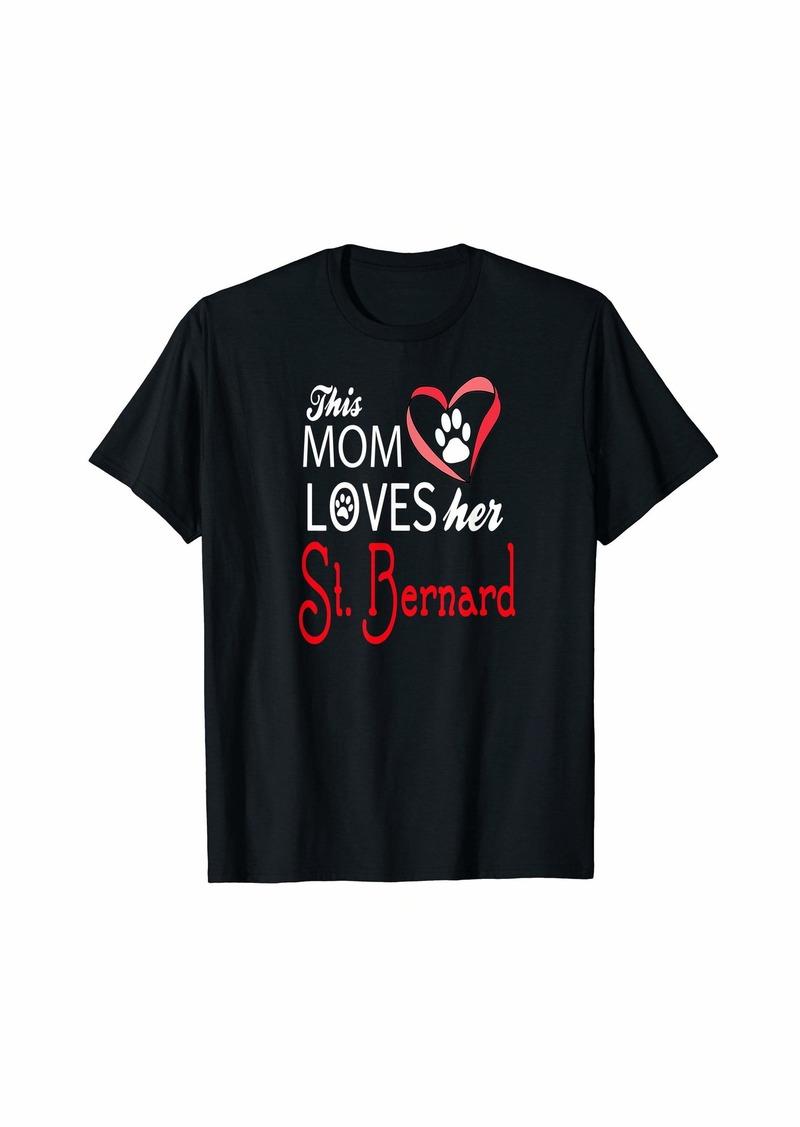 Mother Denim Mom Loves Her St. Bernard Dog Lover T-Shirt