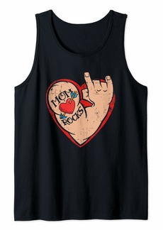 Mother Denim Mom Rocks Heart Tattoo Arm with Devil Horns for Mother Love Tank Top