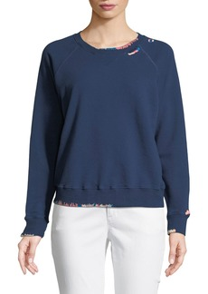 Mother Denim Crewneck Raglan Sweatshirt with Topstitching