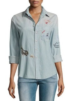 Mother Denim Foxy Boxy Buried Treasure Embroidered Shirt