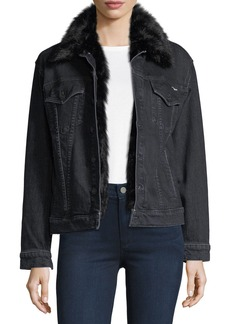 Mother Denim Furry Drifter Denim Jacket w/ Faux Fur