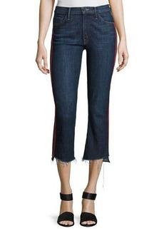 Mother Denim Insider Crop Track-Stripe Jeans with Step Hem