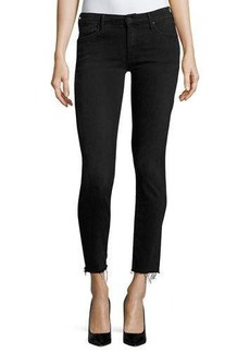 Mother Denim Looker Ankle Skinny Jeans with Frayed Hem